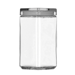 2Qt Square Stackable Glass Jar Pack of 4
