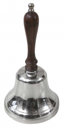 CHROME FINISH HAND BELL WITH WOODEN HANDLE