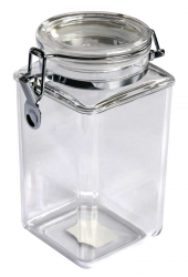 SQUARE CLIP JAR 53OZ, MS, SEALED LID