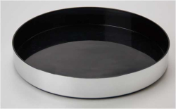 BLACK TRAY ALUMINIUM EFFECT SIDE, NON SLIP, DIA 330mm