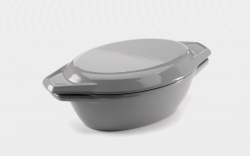 27.5cm Grey & White Oval Cast Iron Enamel Casserole Dish With Lid