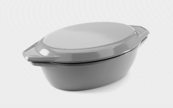 32.5cm Grey & White Oval Cast Iron Enamel Casserole Dish With Lid