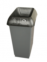 50LTR RECYCLING BIN COMP WITH BLK LID & BATTERIES LOGO