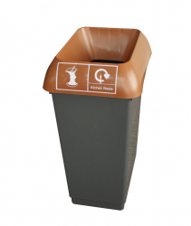 50LTR RECYCLING BIN COMP WITH BROWN LID & KITN WEASTE LOGO