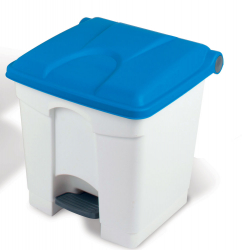 30L STEP-ON CONTAINER  WHITE BASE BLUE LID