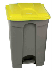 45L STEP ON CONTAINER GREY BASE YELLOW LID
