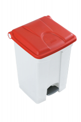 45L STEP ON CONTAINER WHITE BASE RED LID