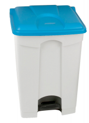 70L STEP ON CONTAINER WHITE BASE BLUE LID