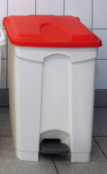 70L STEP ON CONTAINER WHITE BASE RED LID