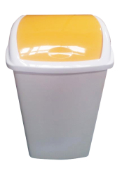 50 LITRE SWING TOP BIN, YELLOW LID WHITE BODY